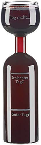 Rosenstein & Söhne Weinglas: 2in1-Weinflasche und XXL-Glas aus Echtglas, mit Aufdruck, 750 ml (Weinbelüfter)