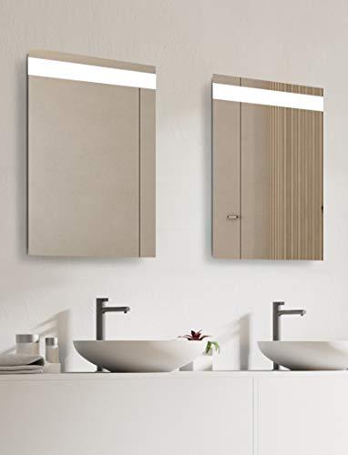 Talos LED Badspiegel Home-Lichtfarbe neutralweiß-Modernes Design, Silber, 45 x 65 cm