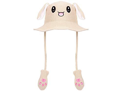 Lustige Mütze mit Ohren Bunny Hat Hasen Häschen Hut Festival beweglich Plüsch Pump Airbag Beige Herren Damen