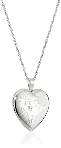 "Amazon Collection Sterling Silver Heart ""You Are My Sunshine"" Locket Necklace, 18"""
