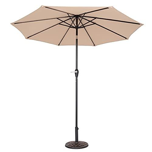 ICOCO Sombrilla de jardín, 2,7 m, sombrilla para exteriores, para playa, balcón, patio, base no incluida (Beige)