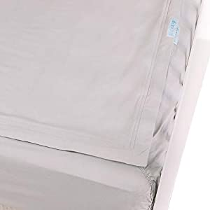 crib bedding and baby bedding quickzip crib sheet set - faster, safer, easier baby crib sheets - includes 1 wraparound base & 1 zip-on crib sheet - gray 100% cotton - fits all standard crib mattresses