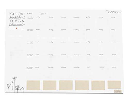 Große XXL A2 Schreibtischunterlage weiß mit Monatsübersicht, auch für Bullet Journaling, Papier zum Abreißen, 42x59 cm, 25 Blatt Schreibunterlage Abreißblock, Recyclingpapier klimaneutral