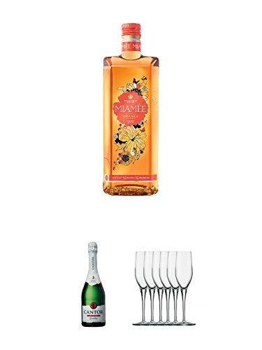 Miamee Orange Goldwasser Likör 0,7 Liter + Cantor alkoholfreier Sekt 0,75 Liter + Stölzle Exquisit Sektkelch 6er Pack