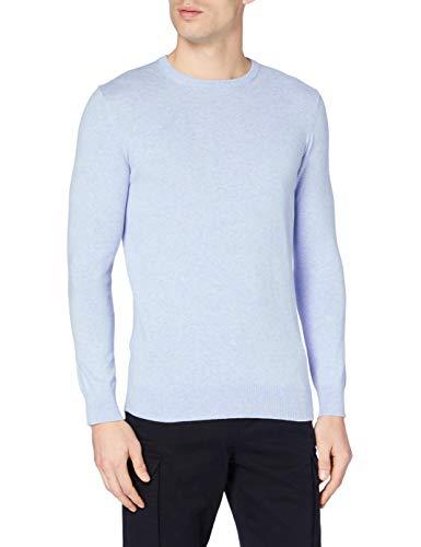 Marchio Amazon - MERAKI Pullover Cotone Uomo Girocollo, Blu (Ocean Blue), XS, Label: XS