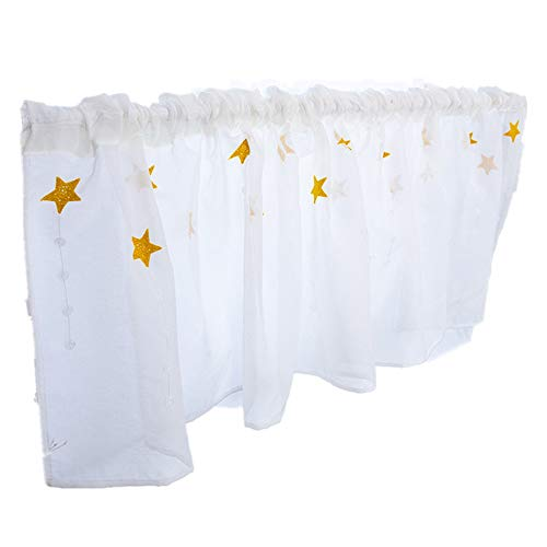 SUNSKYOO Flower Curtain Panel Polyester Embroidered Kitchen Cafe Net Curtains Window Treatment Tab Top Voile Window Curtain,Star Yellow
