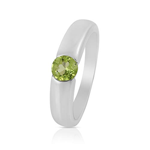 Gemshiner Elegant Peridot Solitaire Ring In 925 Sterling Silver Ring for Women and Girls