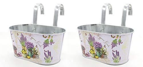 DARO DEKO Metall Hängetopf mit 2 Henkeln - 23cm x 11cm Lavendel 2 Stück