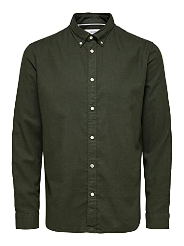 SELECTED HOMME Slhslimflannel Shirt LS W Noos Camicia, Darkest Spruce 2, L Uomo