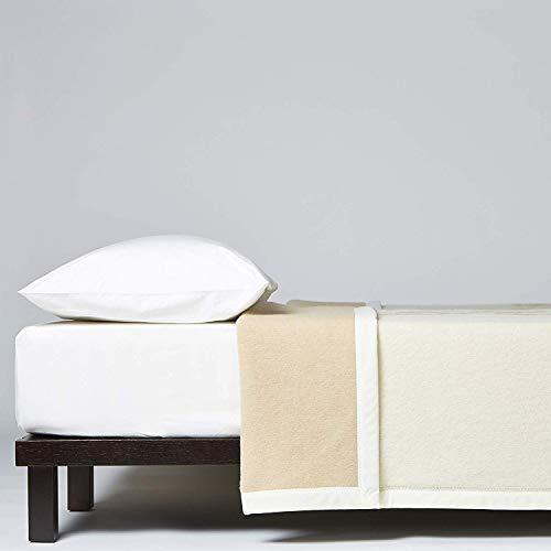 LANEROSSI Coperta Letto Matrimoniale Maxi Agata Plus, Coperta in 100% Lana Vergine, 230x270 cm, Bianco/Beige