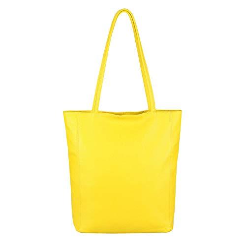 OBC Made in Italy Damen Echt Leder Tasche Shopper Schultertasche Henkeltasche Din-A4 Tote Bag Handtasche Umhängetasche Ledertasche Beuteltasche Gelb