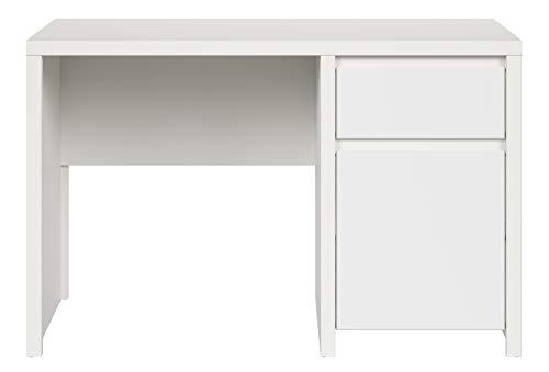 Boardd - Mesa de ordenador para estudio de ordenador, esquina de mesa, para casa, oficina, estación de trabajo Kaspian con cajón y compartimento de almacenamiento, color blanco mate, 65 x 77 x 120 cm