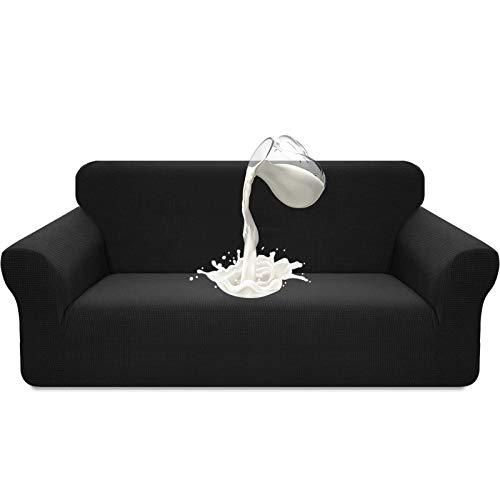 Luxurlife - Funda elástica impermeable para sofá de 3 plazas, diseño elegante, antideslizante, resistente a los arañazos, con espuma antideslizante (3 plazas, color negro)