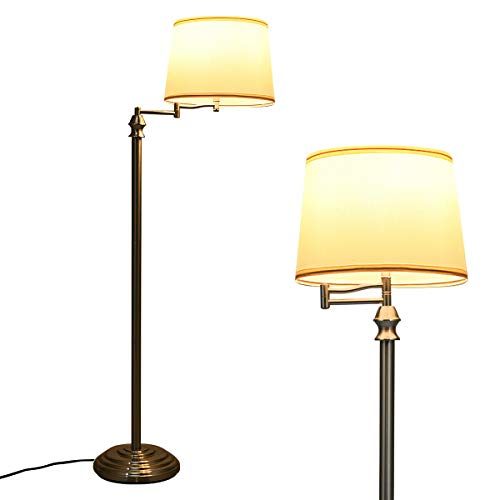 Tangkula LED Floor Lamp w/Swing Arm, Iron Pipe Electroplated Nickel & Hanging Lamp Shade for Reading, Classic Standing Lamp for Home Living Room Study Bedroom Office (Nickel)