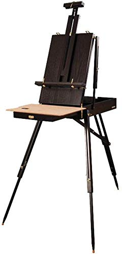 LLDKA schildersezel Orme met lade rack, dienblad, houten tafel kleur instelbaar en inklapbaar olie