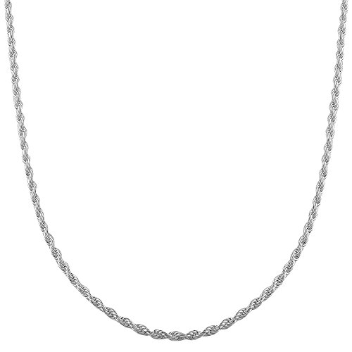 COZMOS Feine Silberkette Kordelkette Seilkette Halskette Kette Collier Armband Fußkette 925 Silber Sterling 1mm - 15, 20, 25, 30, 35, 40, 45, 50, 55, 60, 65, 70, 75, 80, 85, 90, 95, 100cm