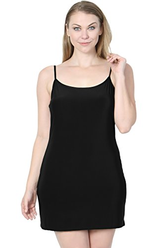 TheMogan Junior's Sleeveless Strappy Stretch Layering Mini Full Slip Black 1XL