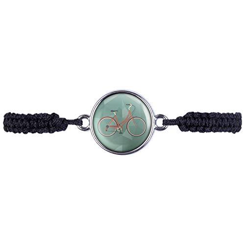 Mylery Armband mit Motiv Damen-Rad City-Rad Stadt-Rad Rot Silber 16mm