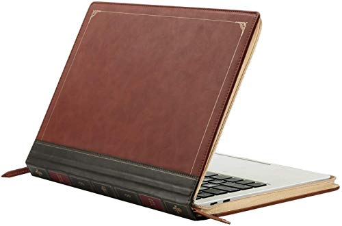 MOSISO MacBook Pro 15 inch Case, PU Leather Laptop Sleeve Vintage Retro Zippered Book Folio Cover Compatible with 2019 2018 2017 2016 MacBook Pro 15 inch with Touch Bar A1990 / A1707, Brown