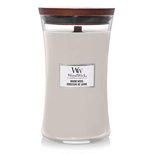 WoodWick - Reloj de arena perfumado, Parafina Mezcla de cera de soja., Lana cálida., Large