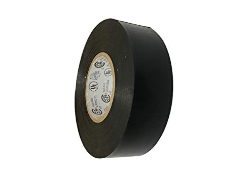 T.R.U. EL7566-AW Professional Grade Rubber Black PVC Electrical Tape, Rated up to 600 Volts and 176 F - UL/CSA/CE Listed Synthetic: 1 in. x 66 Ft. (8 Mil)