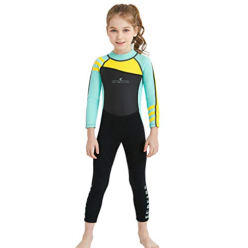 Dark Lightning Kids Wetsuit Full Thermal Suit, Grils Neoprene One Piece Fishing Suits, 2mm Long Sleeve Swimsuit for Children Scuba Diving, Surfing, Paddling, Swimming, Blue, L Size