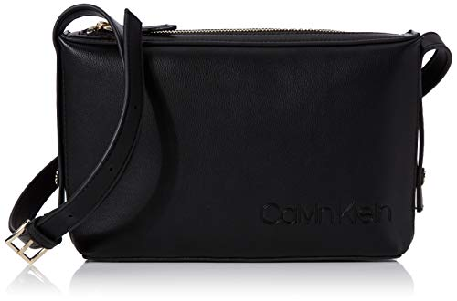 Calvin Klein Damen Attached Ew Xbody Umhängetasche, Schwarz (Black), 18x29x7cm