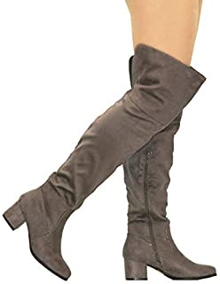 05c56697a6e MVE Shoes Women s Knee-high Faux Leather - Comfortable Fashion Boots