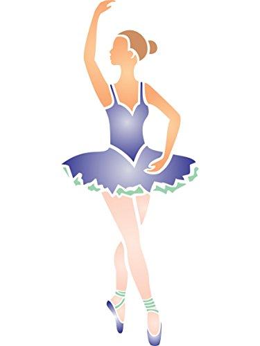 Ballerina Schablone–11,5x 30,5cm–wiederverwendbar Mädchen Ballett Tänzerin Wand Schablone–Vorlage, auf Papier Projekte Scrapbook Tagebuch Wände Böden Stoff Möbel Glas Holz etc.