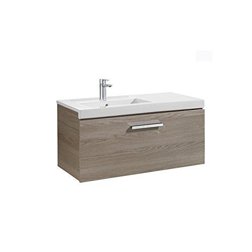 Roca Waschtisch Unik (Regal Grundlage mit einer Schublade und links)–Serie Prisma, weiß glanz