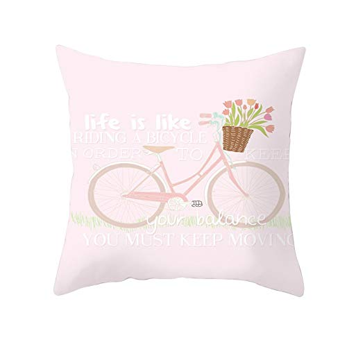 Fundas de Cojines Funda de Cojín Bicicleta Flor Rosa Cojines Decoracion Terciopelo Suave Fundas de Almohada Cuadrado para Sofá Cama Sillas Coche Dormitorio Decorativo Hogar M283 Pillowcase,40x40cm