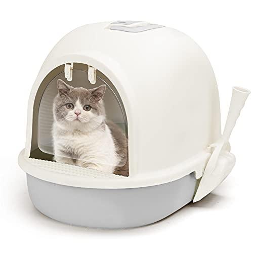 Nobleza Aseo Cerrado para Gato,50.5 x 37.5 x 38cm Caja de Arena para Gatos Grande,Bandeja Extraible y Pala incluida,Gris