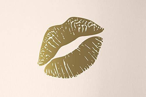 Kiss Mark Muursticker Lippen Decal gouden lippen muur kunst Lippenstift Mark meisjes slaapkamer Decor