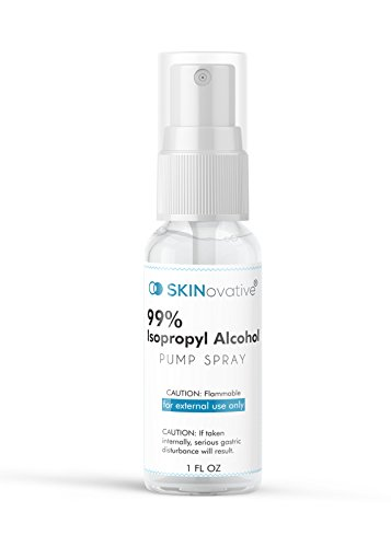 SKINovative 99% Isopropyl Alcohol Spray 1 Oz Derma Roller Sterilizer - Microneedling Cleaning and Sterilizing Solution - Kills Bacteria on Contact - Safer Micro Needling