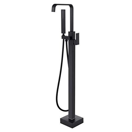 Conjunto de ducha, Grifo de bañera independiente Relleno de bañera Cascada negra Montaje en el suelo Grifos de baño de latón de una manija con ducha de mano Juego de ducha de lujo,Black