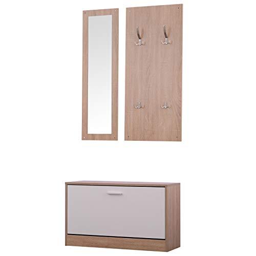 HOMCOM 3-teiliges Garderoben-Set Flurgaderobe mit Schuhschrank Garderobe Wandspiegel 4 Haken Natur 30 x 100 cm (Spiegel)