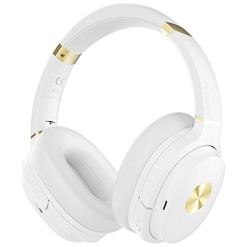COWIN SE7 Active Noise Cancelling Headphones Bluetooth Headphones Wireless Headphones Over Ear with Microphone/Aptx, Comfortable Protein Earpads, 30 Hours Playtime for Travel/Work, White