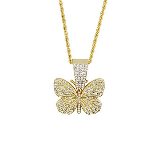 JOMYO Iced Out kettingen, Cubaanse schakelketting, hiphop ketting, insect vlinder vorm volledige diamant ketting, grote gesp hanger dikke ketting accessoires (maat: 50cm)