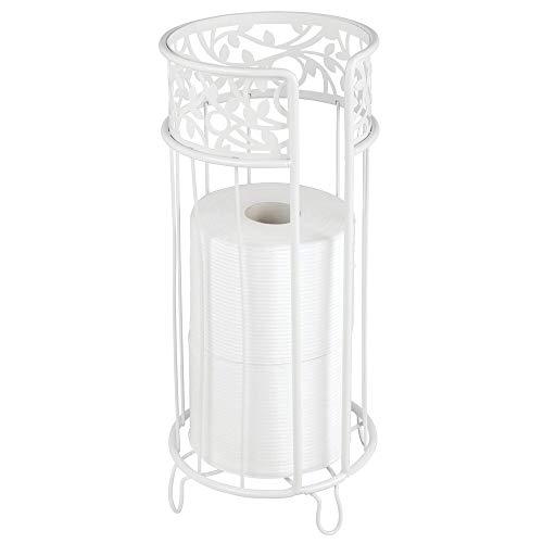 MDESIGN Toilettenpapierhalter freistehend – moderner Papierrollenhalter fürs Badezimmer – dekorativer Klopapierhalter mit Halterung für 3 große Reserverollen – weiß