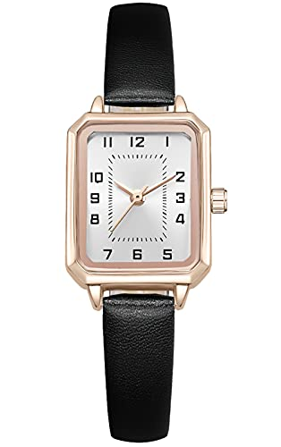 KDM Reloj de pulsera para mujer con correa de piel de The Boxy, oro rosa, caja rectangular, resistente al agua, analógico, de cuarzo, 4 Negro Blanco, M,