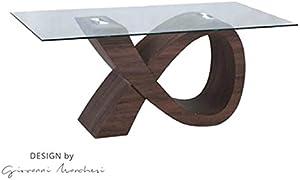 giovanni marchesi design Table DE Repas Alpha Noyer Dessus Verre