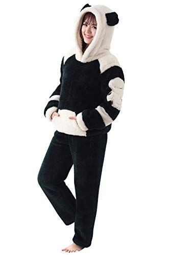 Dolamen Pijamas para Mujer Navidad Pijama Ropa con Capucha, Franela Grueso Pijamas Mujer Invierno Camisones, Manga Larga Pantalones Dormir y Tiempo Libre Cremallera (XX-Large, Negro)