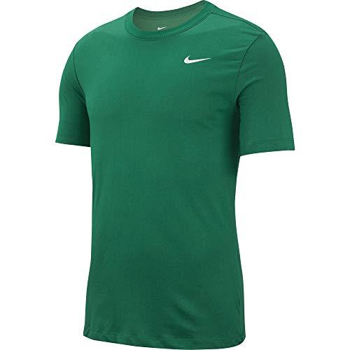 Nike Men's Dry Tee, Dri-FIT Solid Cotton Crew Shirt for Men, Pine Green/White, L