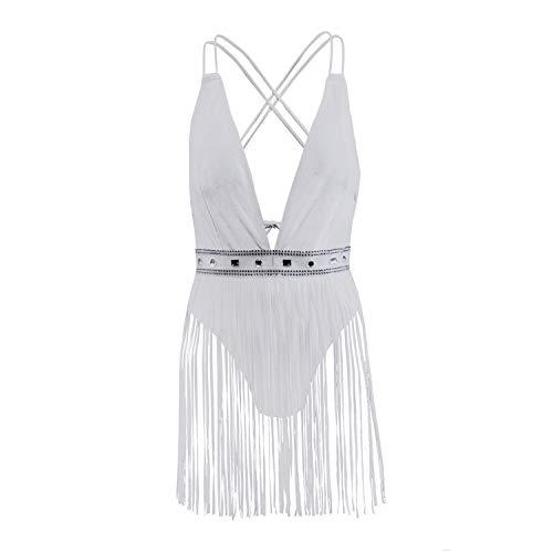 RL Weiß Sling Bikini, Sexy RüCkenfrei Siamesisch Badebekleidung, Quaste Badebekleidung,S