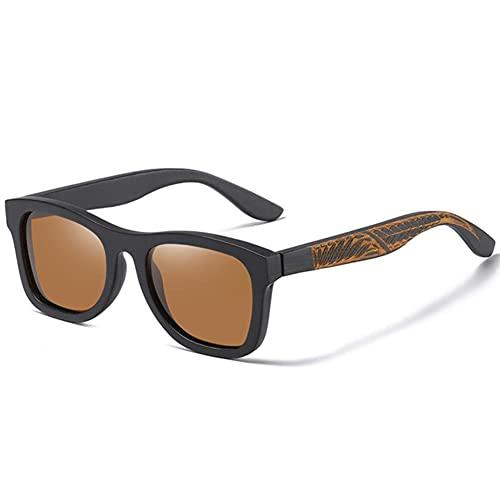 UKKO Gafas de Sol Hombre Gafas De Sol De Marco De Madera De Bambú Negro Hecho A Mano para Mujeres Hombres Polarizados Vintage De Bambú De Madera De Gafas De Sol