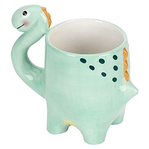 MyGift Teal Green Modern Ceramic Dinosaur Cartoon Drinking Mug with Handle