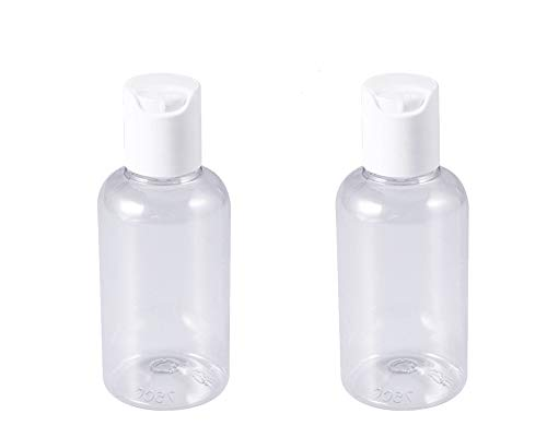 2 pcs Botes Transparentes rellenables vacíos con dosificador para Gel hidroalcohólico, Gel, champú, Viaje, Maquillaje, cosmético 75 ml