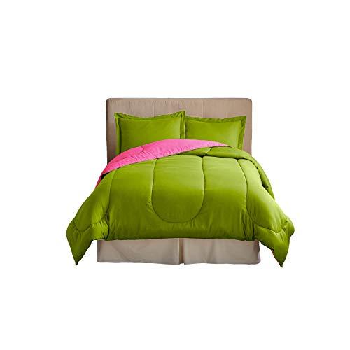 BrylaneHome Reversible Comforter - Queen, Fuchsia Green Apple