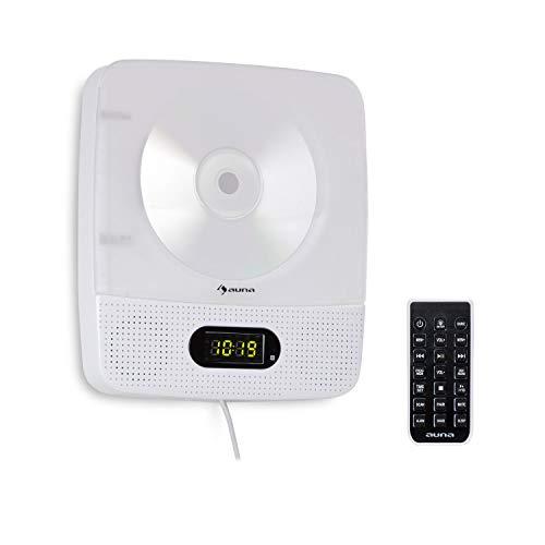 auna Vertiplay - CD-Player, Bluetooth, UKW-Radio, USB-Port, AUX-Eingang, Digitaluhr, 10 Watt Stromverbrauch, Nachtlicht, Wandmontage, mit großen Knöpfen, Fernbedienung, weiß