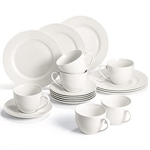 Sunting Porzellan Kaffeeservice für 6 Personen. Premium Neues Bone China Geschirrset Runde CremeWeiß Kaffeegeschirr Set. 18-teilig Elfenbein Weiß Kaffeetassen Set mit Untertassen und Kuchenteller